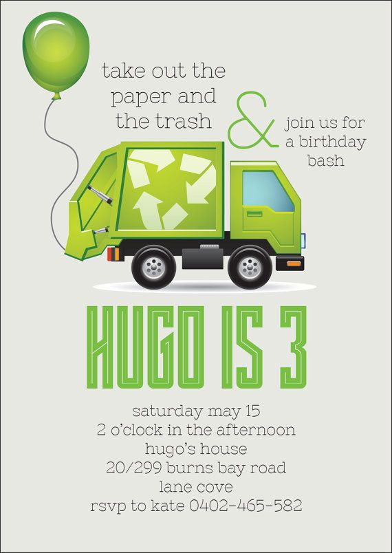 Garbage Truck Invitation Kids Birthday Invite
