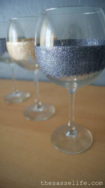 mod-podge and glitter glue to create hand-washable decorated wine glasses