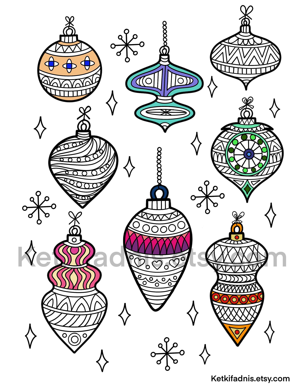 Christmas Ornaments Coloring Page Pdf Digital Download Zentangle Colouring Page Christmas Coloring Page In 2020 Christmas Tree Coloring Page Coloring Pages Christmas Ornament Coloring Page
