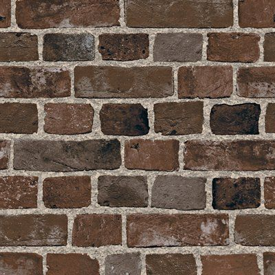 Blue mountain brick brown peelable vinyl prepasted wallpaper