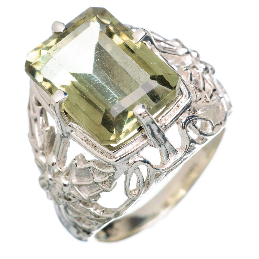 Faceted Green Amethyst Flower 925 Sterling Silver Ring Size 7.5 RING751237