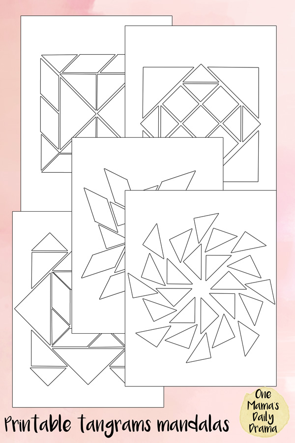 photo about Printable Tangram Pieces titled Tangrams mandala puzzles Little ones Drawing Coloration actions