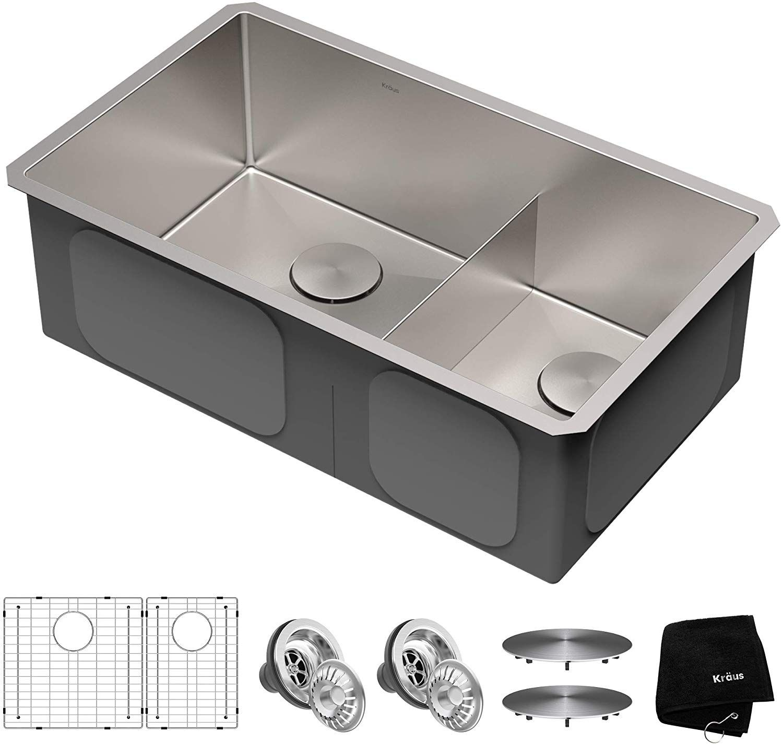 Kraus Khu103 32 Standart Pro Kitchen Sink 32 60 40 Double Bowl Amazon Com In 2020 Double Basin Kitchen Sink Drop In Kitchen Sink Undermount Kitchen Sinks