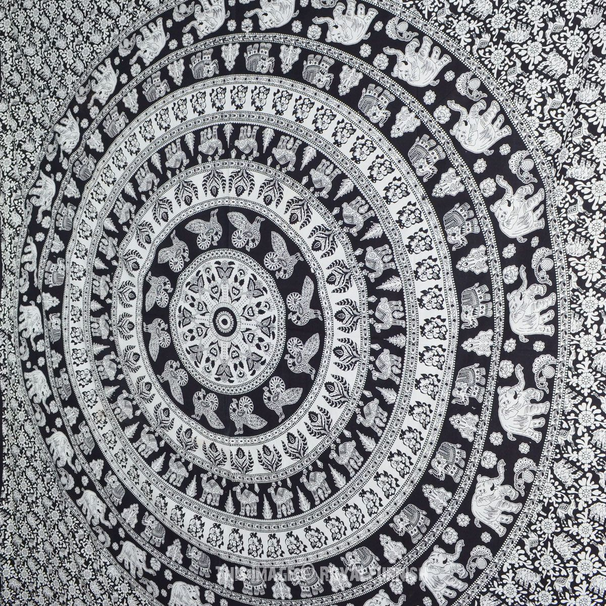 Blue multi elephants sun ombre mandala wall tapestry royalfurnish - Black And White Indian Elephant Mandala Tapestry Wall Hanging Hippie Bedspread On Royalfurnish Com