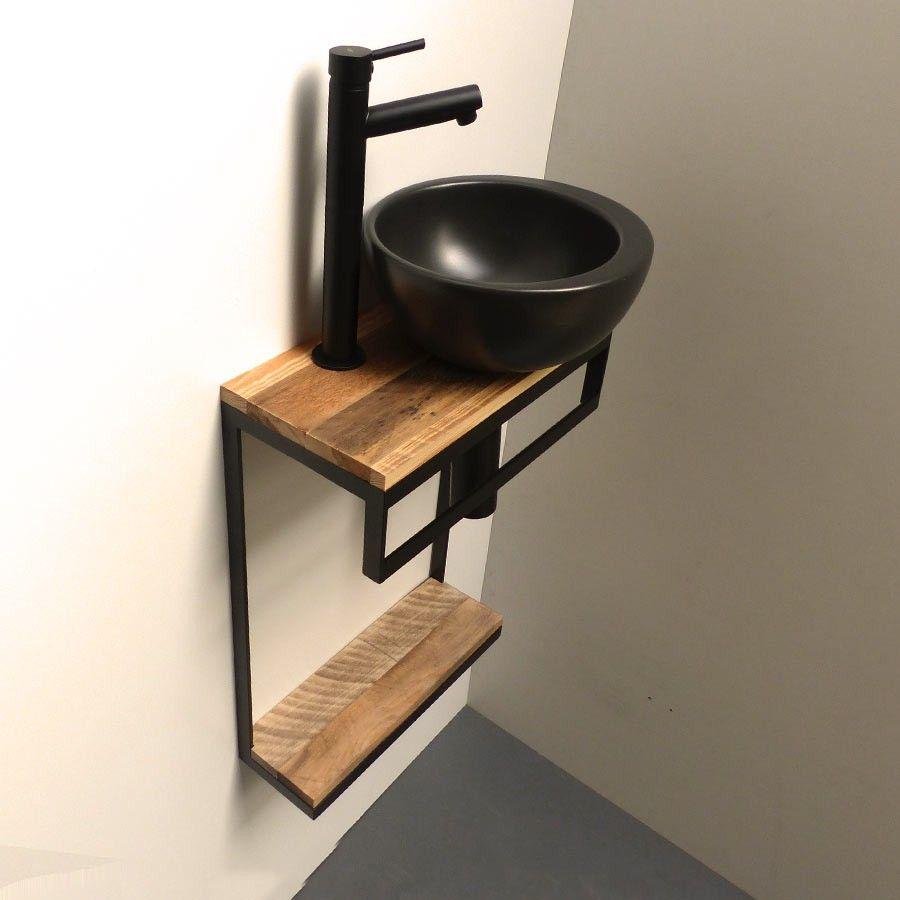 Meuble Lave Mains En Acier Et Vasque Noir Mat Tablettes Au Choix Meuble Vasque Bois Deco Toilettes Idee Deco Toilettes
