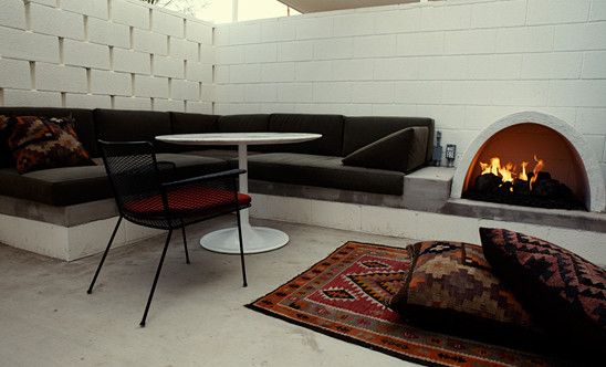 Fireplace Palm Springs  Patio With Fireplace (Photo 3) : New Budget & Luxury Rooms : Ace Hotel Palm Springs  nice cribs  Pinterest  Ace Hotel, Palm Springs and Palms
