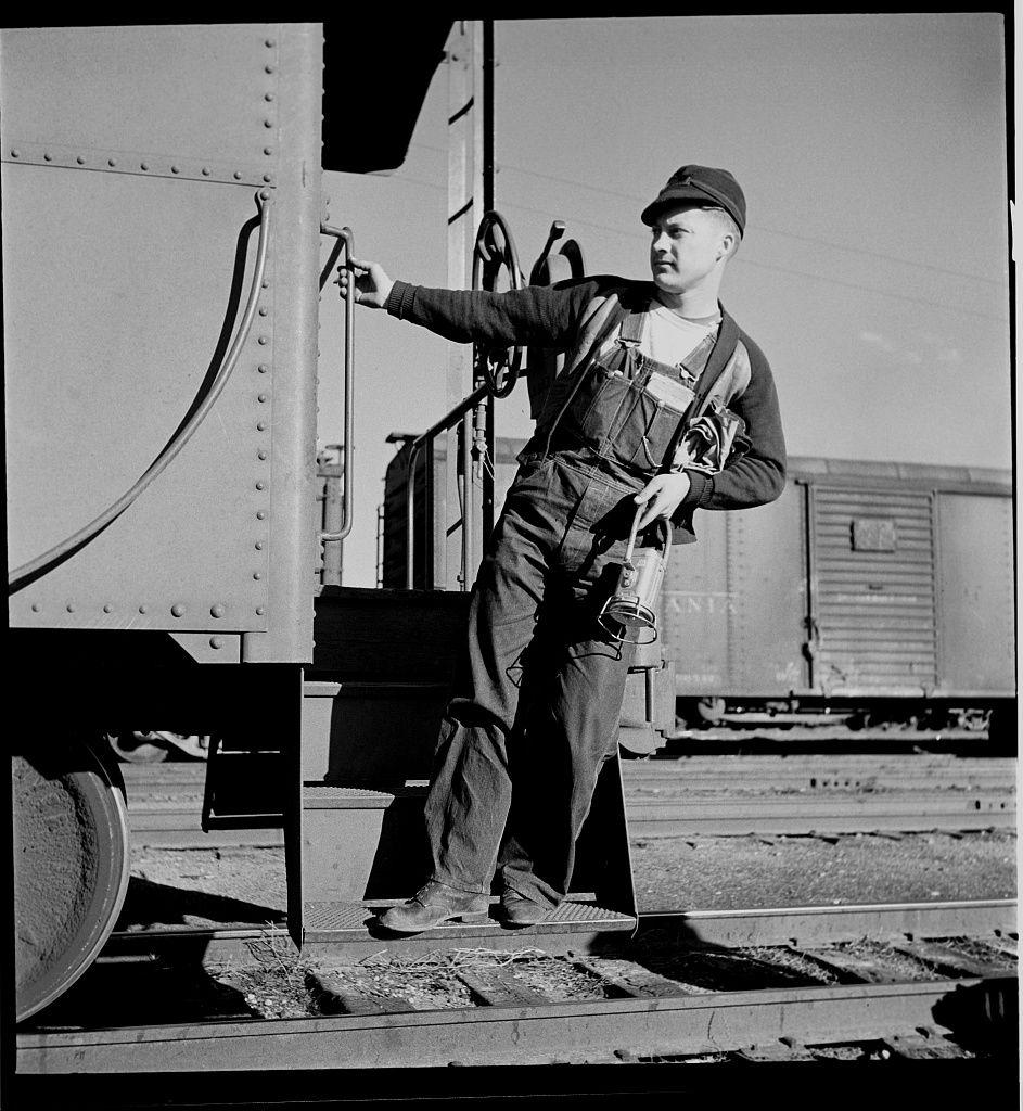 Railroad worker, 1930's Kromer cap, battery trainman's