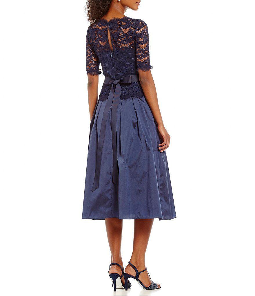 Adrianna papell illusion lace u taffeta ball skirt gown ball skirt