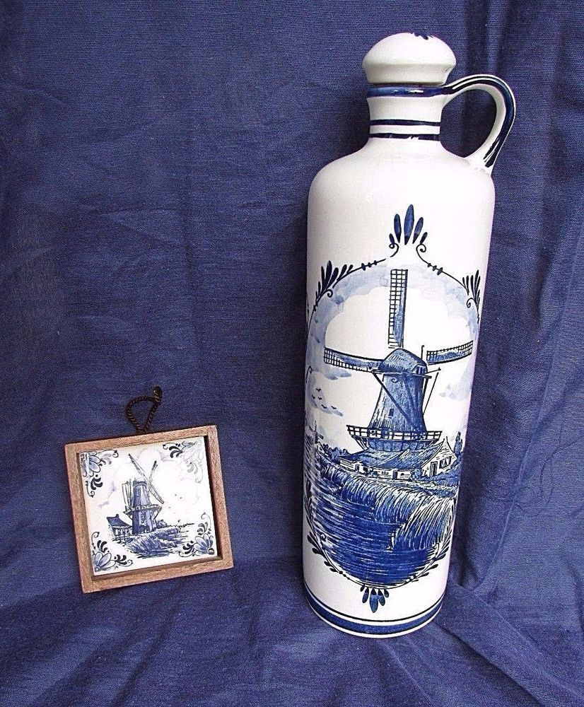 Delft Blue Decanter Jug With Cork Stopper Windmill Blue White Made In Holland Delft Pottery & China