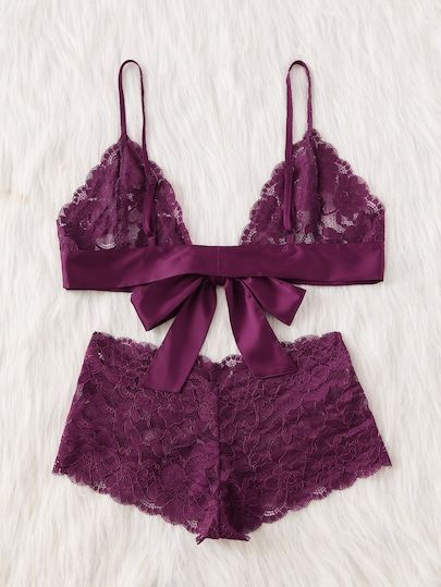 b7204dd1241 Tie Front Lace Bralette And Pantie Lingerie Set -SheIn(Sheinside ...
