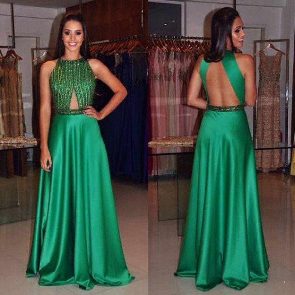 Green backless satin prom dress sleeveless sexy beaded prom dress