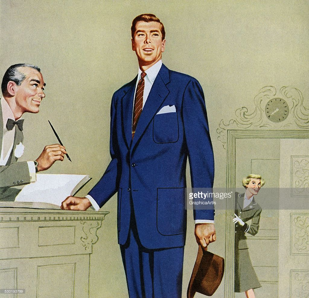 Vintage Illustration Of A 1950s Man In Blue Suit Signing At Hotel