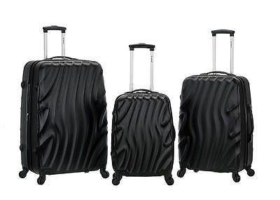Rockland Luggage 3PC Rolling Hardcase Expandable Melbourne TSA F160-BLACKWAVE