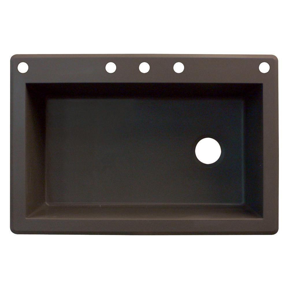 Radius Drop-In Granite 33 in. 5-Hole Single Bowl Kitchen Sink in Espresso (Brown)