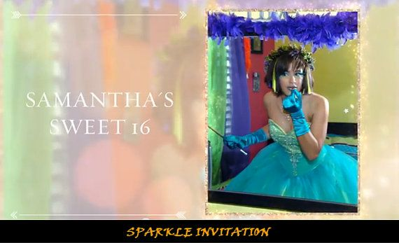 Birthday Party Invitation / Graduation / Sweet Sixteen /  Quinceañero / Glam / Fashion / Neon / Sparkle Theme  by RelivableMoments, $30.00