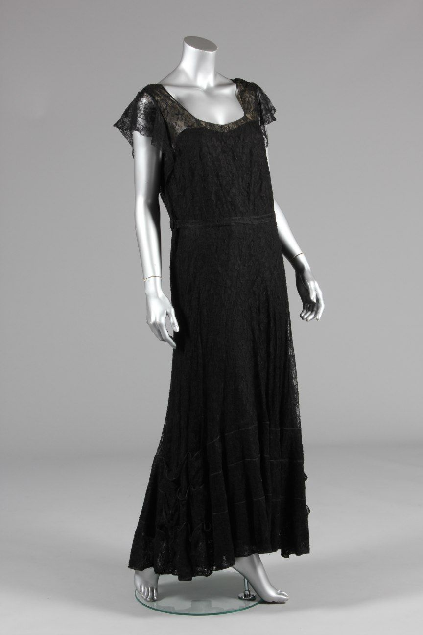 A chanel couture black lace evening gown mid s fashion