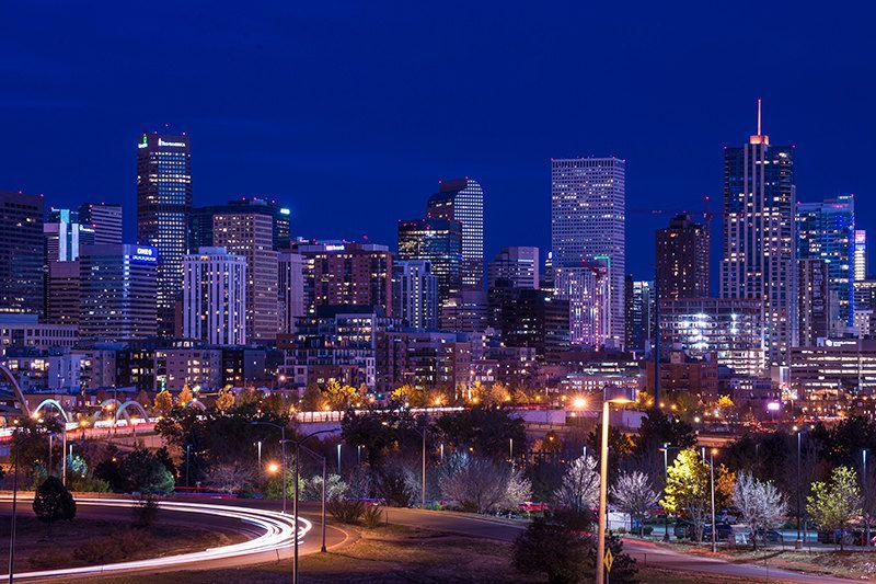 denver skyline at night cityscape colorado photography. Black Bedroom Furniture Sets. Home Design Ideas