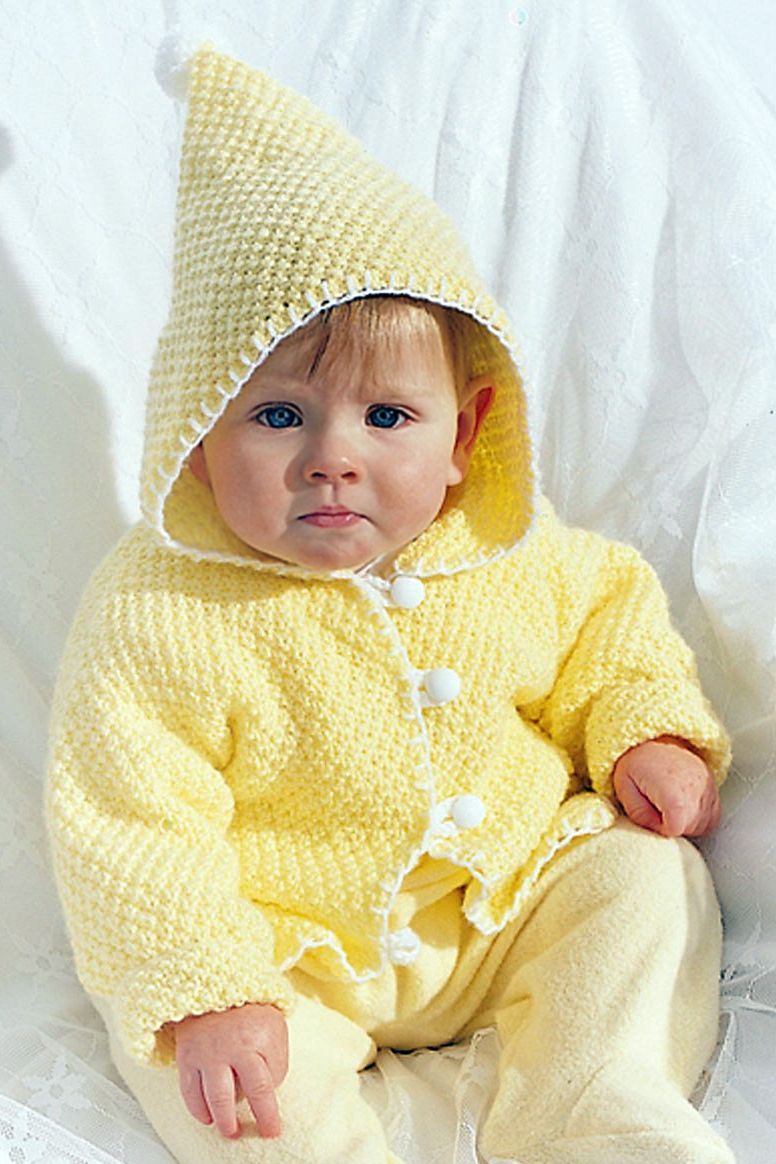 30d1690b35bd Free Knitting Pattern for Seed Stitch Hooded Baby Jacket - Baby ...