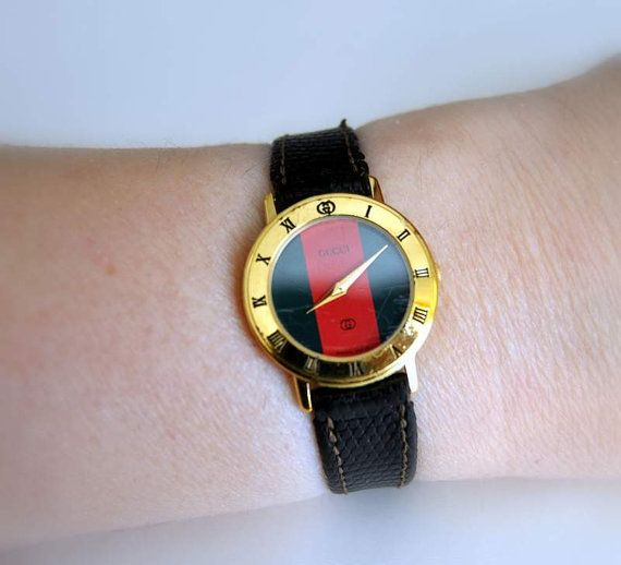 70ecc5aa9f5 RESERVED for nwashin75 Vintage GUCCI Watch Red Green Red Monogram ...