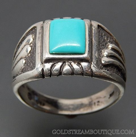Southwestern turquoise wings design sterling silver mens ring