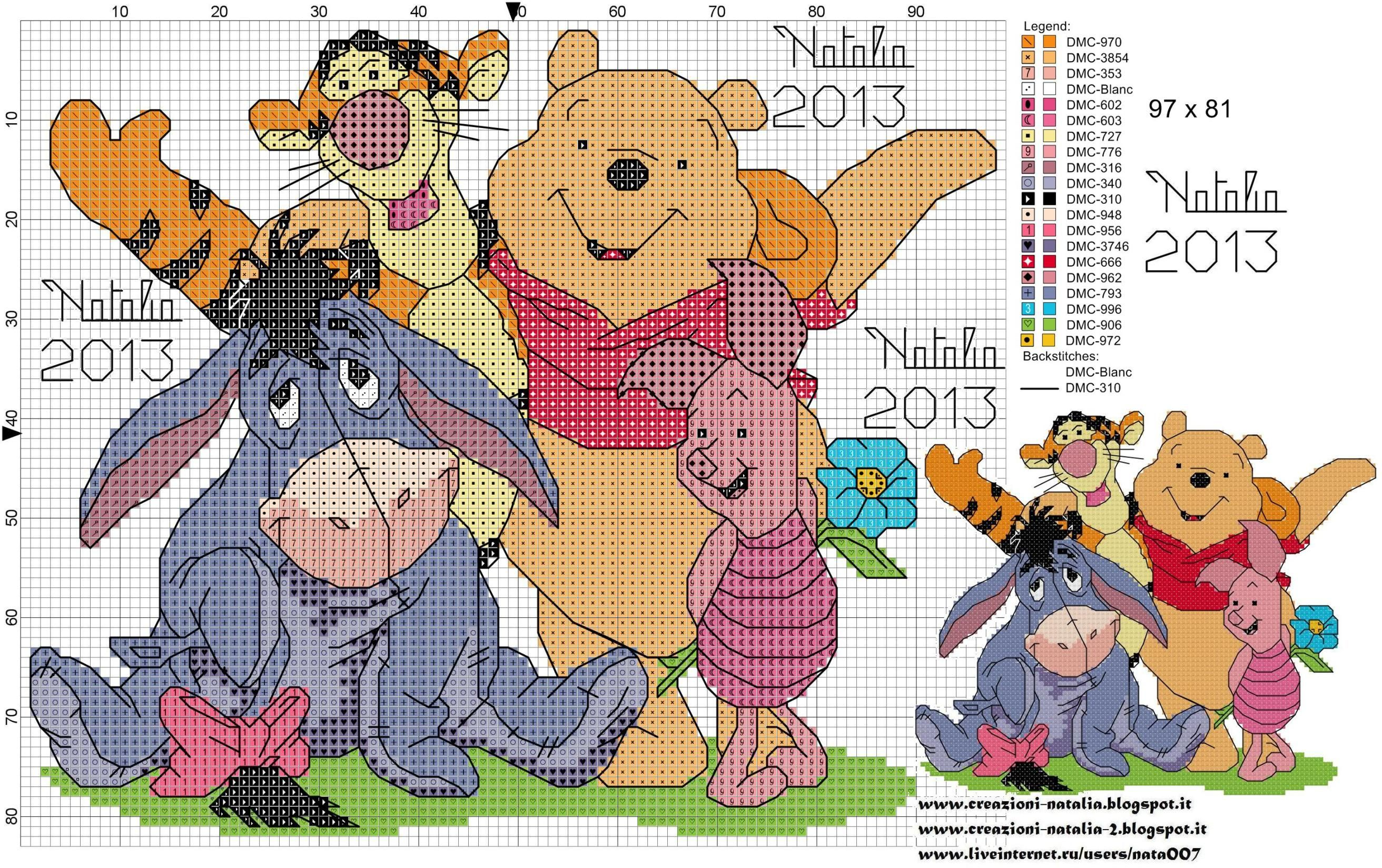 Disney/'s Winnie The Pooh Friends Cross Stitch Pattern