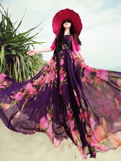 Popular Floral-Print Round Neck SleevelessChiffon Beach Vacation Maxi Dress #beachvacationclothes