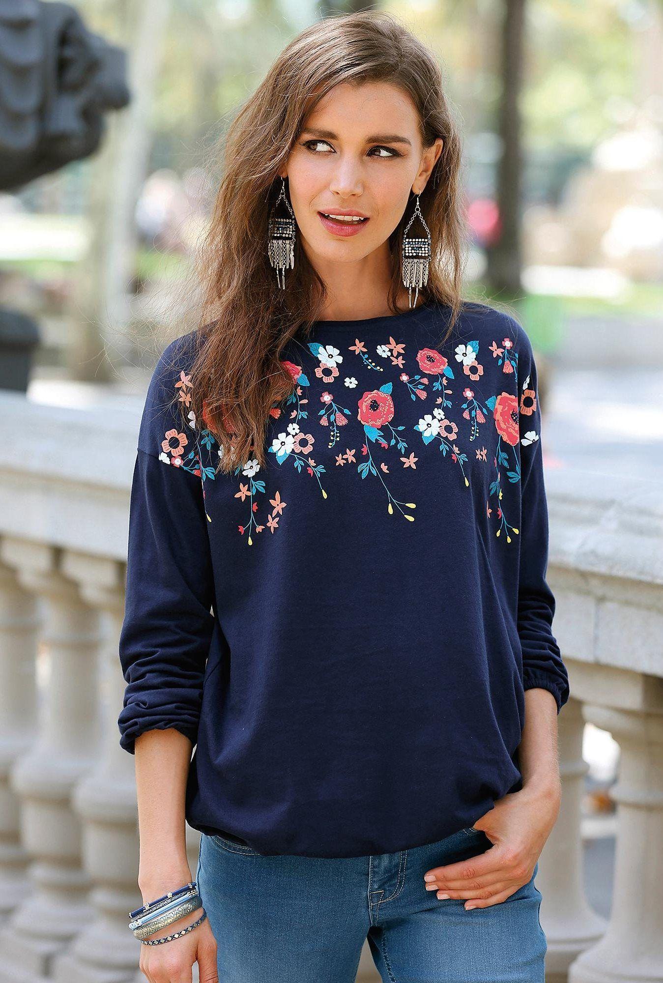 Tee-shirt avec fleurs manches longues femme Exclusivité 3SUISSES - Bleu  Marine 9a4ea4adb6ff