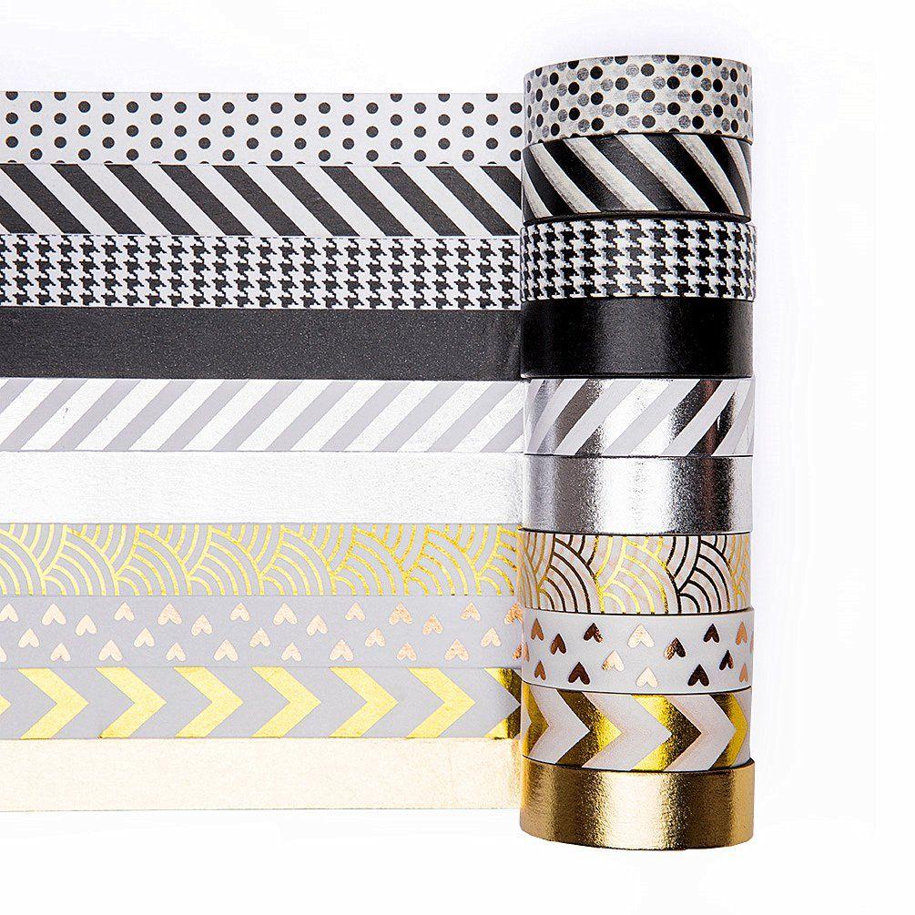 Uniqooo Adhesive Washi Tape Masking Tape Set Of 10 Rolls Metallic