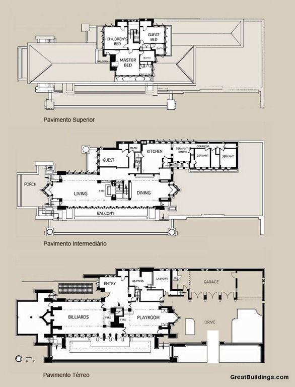 Floor Plan Of The Robie House Frank Lloyd Wright Hyde Park Illinois 1909 Mimari Evler Tugla