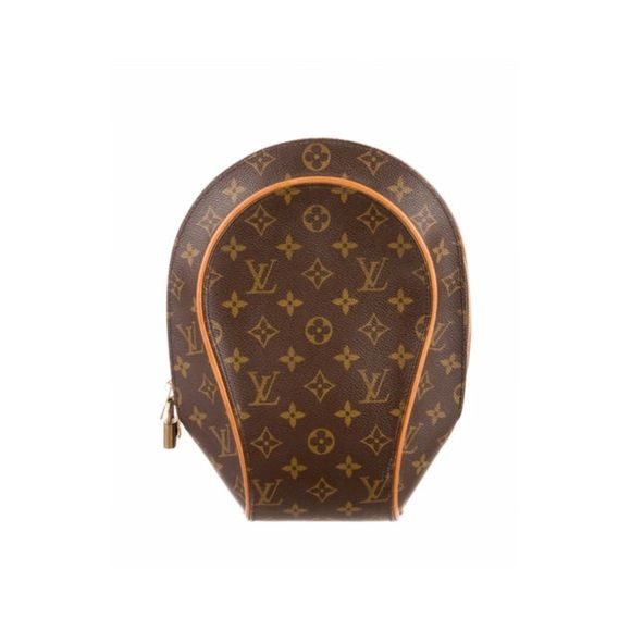 """Louis Vuitton Ellipse Backpack An authentic Louis Vuitton Ellipse Backpack in sturdy, coated canvas. Piping creates a bold contour on the rounded silhouette, which has adjustable leather straps and a large D-ring in back. Wraparound zips open to the lined interior with 1 slim pocket. Will arrive in original dustbag  Made in France.   Measurements Height: 12"""" Length: 9.5"""" Width: 4"""" Louis Vuitton Bags"""