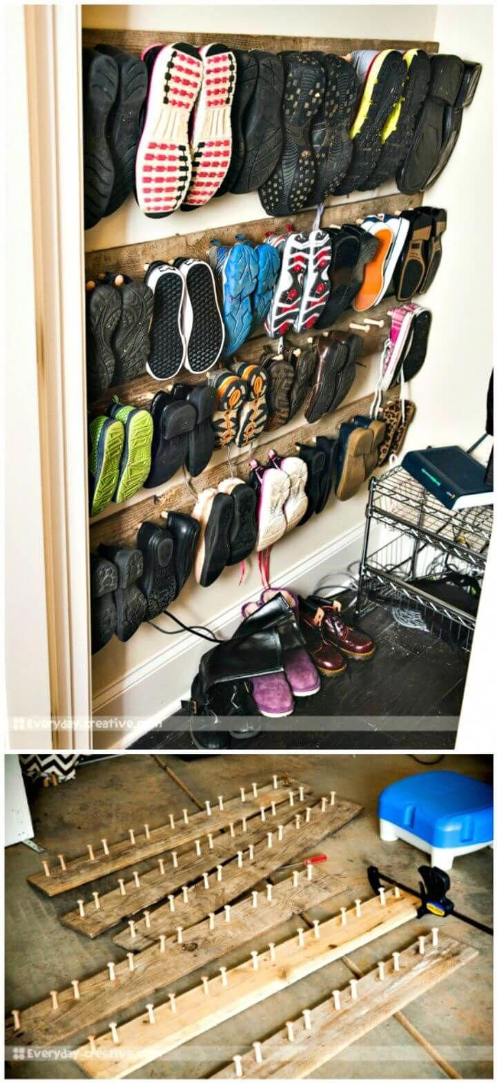 DIY Pallet Wood Shoe Storage Tutorial - Pallet Projects ...