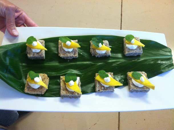 Stilton, Mango & Watercress on Savory Shortbread