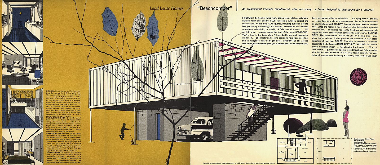 A brochure promoting the beachcomber designed in 1961 by for Pole home designs nsw