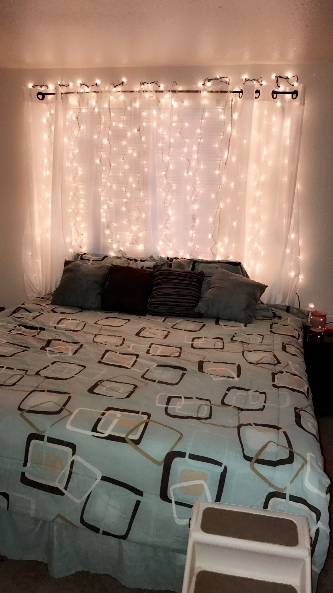 Light Up Curtain Headboard Diy King Bed 2 Boxes 300 Lights Each 7 50 A Box Walmart Com Diy King Headboard Diy Home Decor Bedroom Girl Headboard Curtains