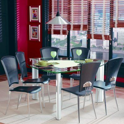 Chintaly Tracy Black 7 Pc Triangle Glass Top Dining Table Set By