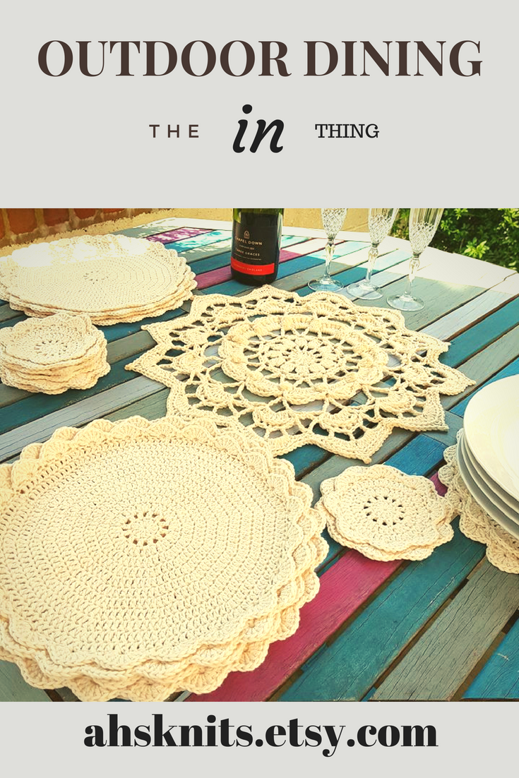 Cream Table Decor Placemats And Coasters Crocheted With 100 Recycled Cotton Washable And Practical Homedecor Gifts Crochet Table Mat Handmade Home Decor