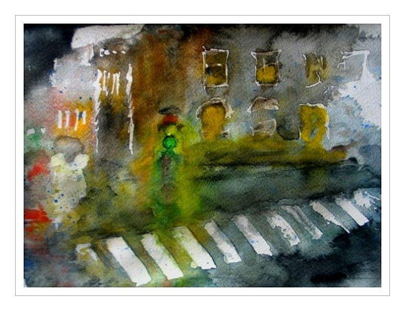 Regentag. Aquarell, 40x60 cm