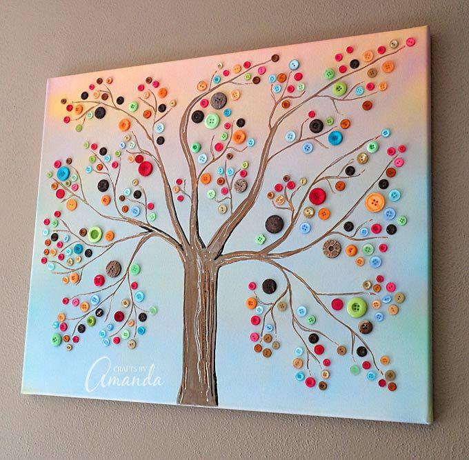 Cuadro con botones y tela reciclada proyectos - Manualidades faciles cuadros ...