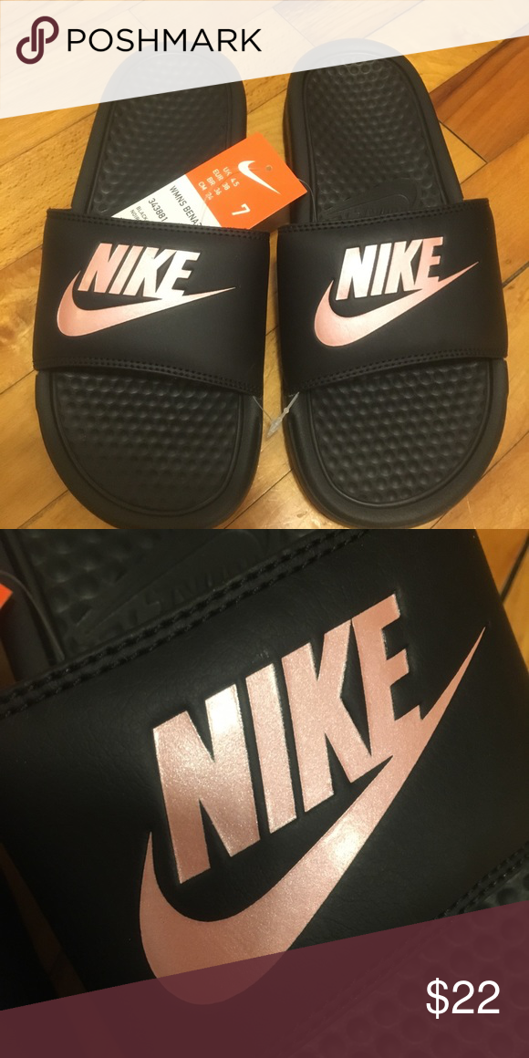 886ca18f39b65 Nike slides NWT black and pink nike slides women s size 7. The pink is  almost a rose gold color! Nike Shoes Sandals