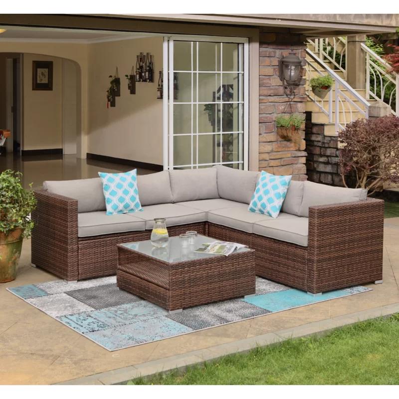Rattan Outdoor Sofa Set With Corner Table Garden Furniture In Black Brown Grey Rattan Garden Furniture Rattan Patio Furniture Balcony Furniture