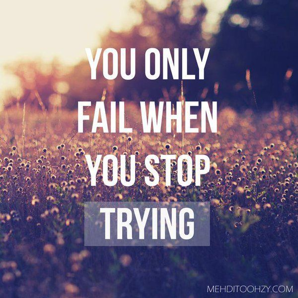Inspirational Quotes About Failure: Kick Up The Hump (Day)!! You Only Fail When You Stop