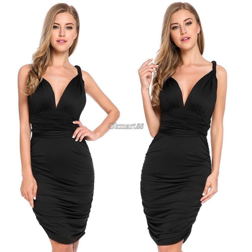 Women sexy bandage club solid slim bodycon pencil dress ok dresses