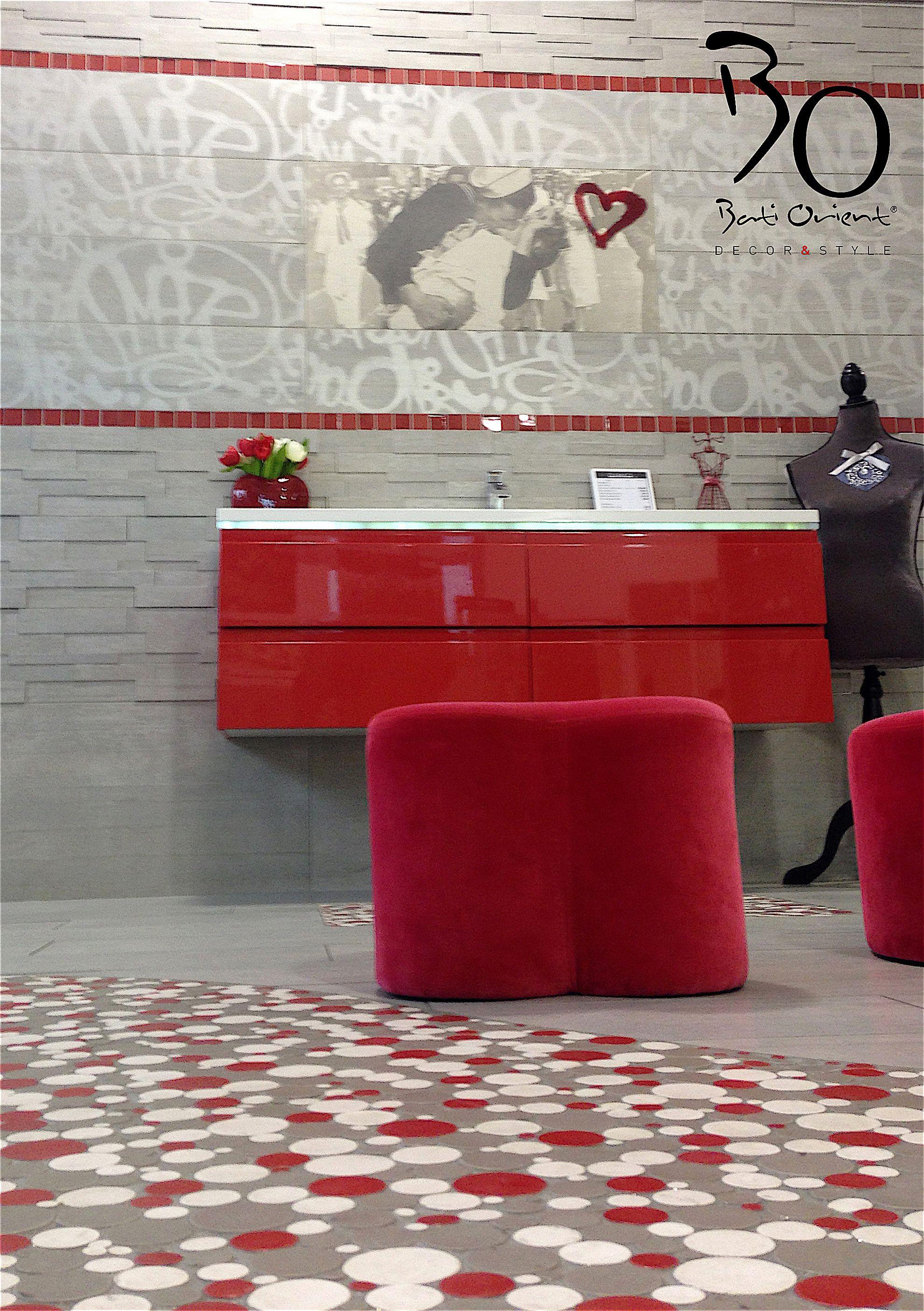 batiorient propose un sol de salle de bain en mosaque blanc gris rouge - Mosaique Salle De Bain Rouge
