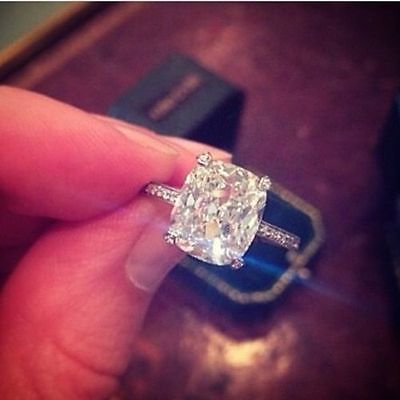 200ct Natural Cushion Cut Pave Authentic Diamond Engagement Ring
