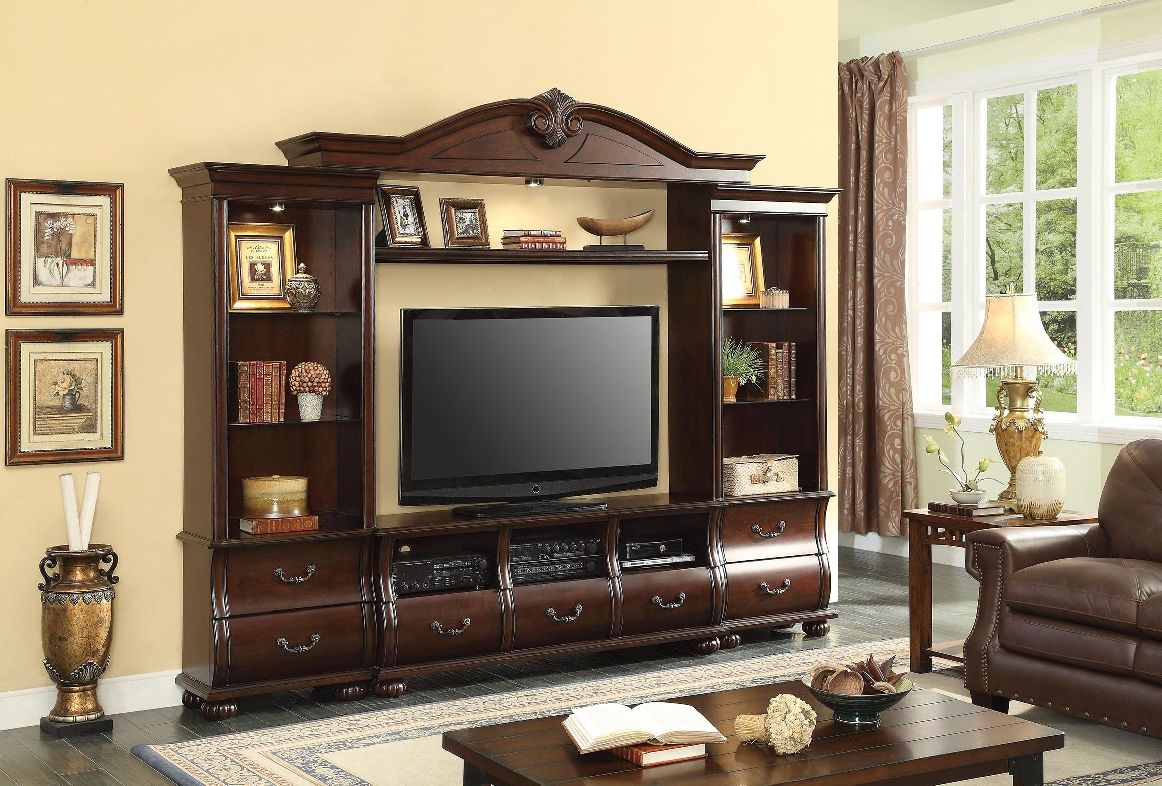 Acme Furniture Faysnow Entertainment Center D Cherry