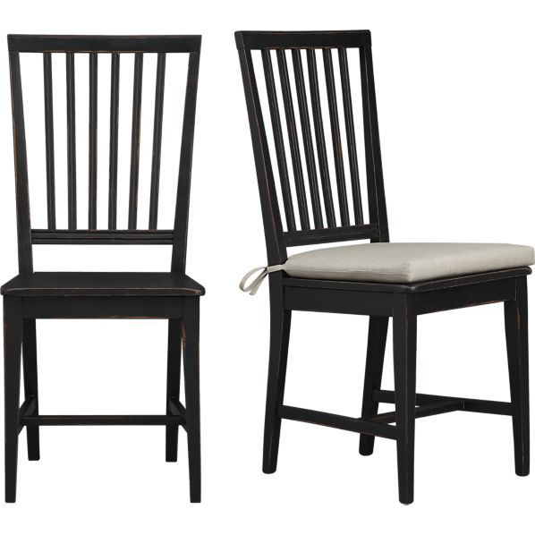 Kitchen Table Chair Cushions: Village Black Side Chair And Natural Cushion In Dining