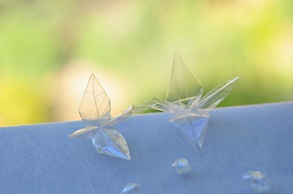 diy grullas de origami con papel celofan