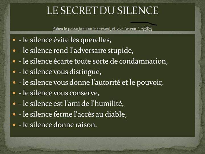 Le secret du silence s r nit pinterest citation - Laisserons nous a notre table paroles ...