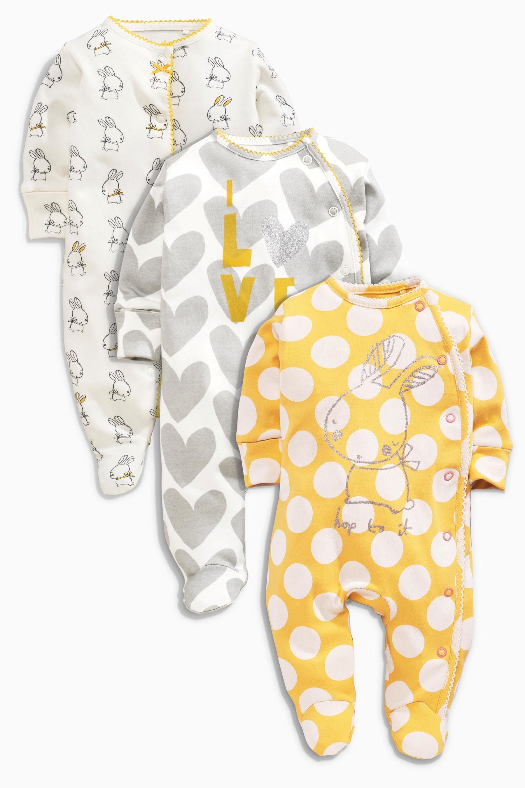 kaufen sie three pack ochre bunny sleepsuits 0 2 jahre heute online bei next deutschland. Black Bedroom Furniture Sets. Home Design Ideas