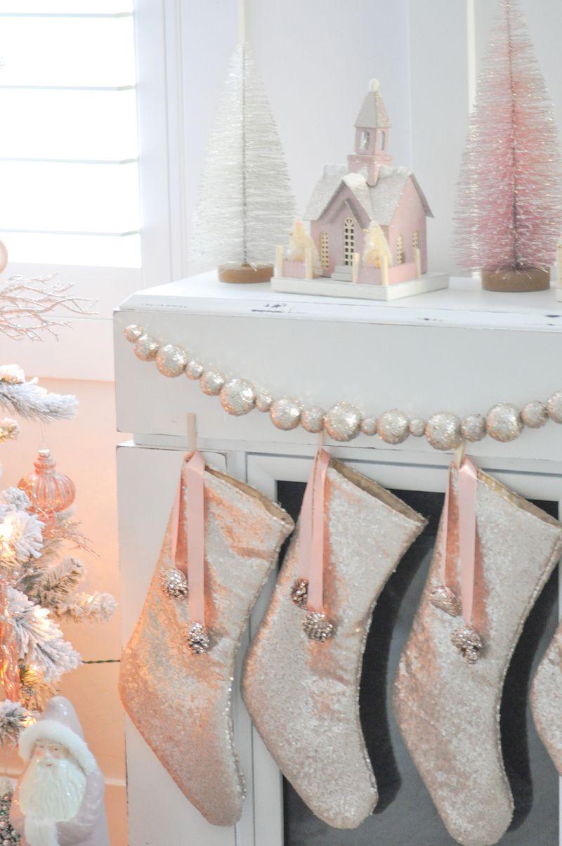 Blush pink vintage inspired tree christmas christmas - Blush pink christmas decorations ...